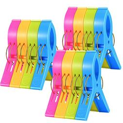 12 Pack Ipow Towel Clips Plastic-Jumbo Size,4 Fun bright col