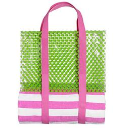 3C4G Towel & Tote 2 Piece Set - Pink Strip/Lime Dots