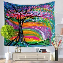 Tree Painting Tapestry - MeMoreCool Polyester Colorful Desig