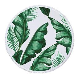 SOFTBATFY Tropical Leaves Terry Round Beach Towel/Round Beac