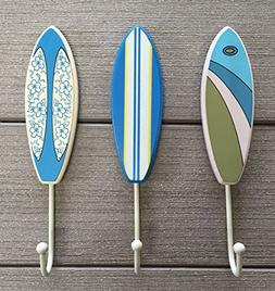 Tropical Surfboard Wall Hooks - Set of 3 - Blue/Green/White