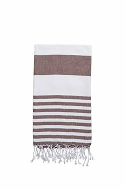 InfuseZen Extra Large Turkish Bath Towel - White with Brown