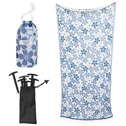 Turkish Cotton Beach Towel Set with Stakes and Travel Bag -
