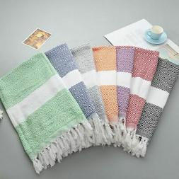 Turkish Style Striped Cotton Tassel Towel Soft Bath Spa Beac