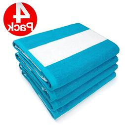 KAUFMAN- SET OF 4 TURQUOISE CABANA BEACH AND POOL TOWELS. 10