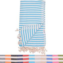 Turquoise Striped Turkish Towel - Naturally Dyed 100% Cotton