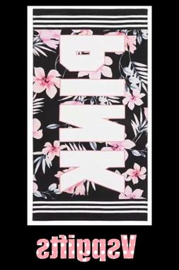 Victorias Secret PINK Beach Towel-Black Floral- NEW!