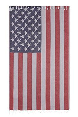 Vintage Looking Lightweight American Flag Bath Beach Travel
