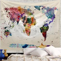 Vintage Tapestries Map Of The World Wide Sea Painting Wall D