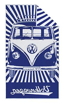 VW Collection by BRISA VW T1 Camper Bus Beach Towel I Blue S