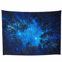 Lebather Large Wall Tapestry Nature Forest Galaxy Night for