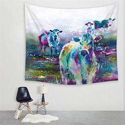 wall tapestry watercolor cow beach