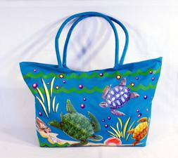 Waterproof Jumbo Blue Canvas Beach Tote Bag Sea Turtle Desig
