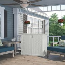 All Weather Wicker Deck Outdoor Outside Storage Cabinet Box