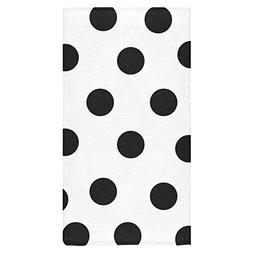 InterestPrint White and Black Polka Dot Beach Bath Towels Ba
