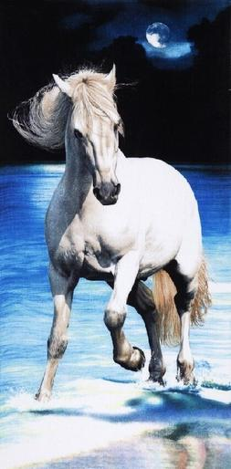 "White Horse/ Night Beach Towel - 30"" x 60"" - Velour - Made I"