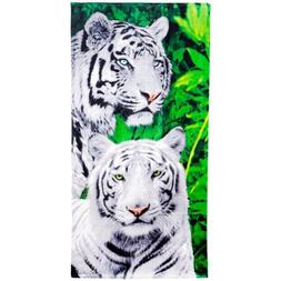 Island Gear - White Tigers in the Jungle Velour Beach Towel