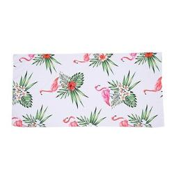 White with Flamingo Pattern 100% Polyester Beach Super Absor