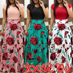 Women Floral Maxi Dress Prom Evening Party Summer Beach Casu