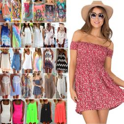 Women Summer Short Mini Dress Beach Bikini Cover Up Kaftan S