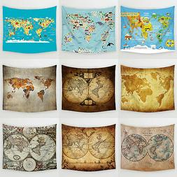 World Map Hanging Wall Tapestry Home Decor Beach Towel Lawn