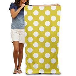 TRUSKC Yellow Polkadot Design 100% Polyester Soft Beach Towe