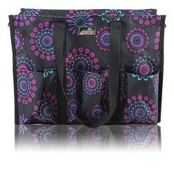 5bd6cf72181c Pursetti Zip-Top Organizing Utility Tote Bag with Multiple Exterior  . Interior  Pockets for Working Women ...
